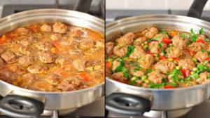 Chiftele delicioase cu tocană de legume! Nu aveți nevoie de garnitură!